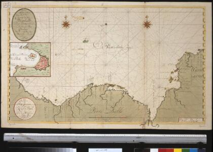 Nieuwen afteekening van de kust van Cartagena en Portobello beginnende van Santo Martha tot Rio Carabaca met allen desselfs havens baijen revieren eijlanden droogtens en dieptens Ao 1729