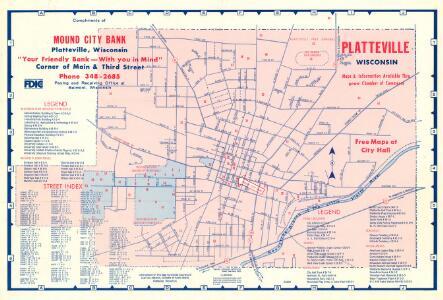 Platteville, Wisconsin / compliments of Mound City Bank. , Rev. 10/69.