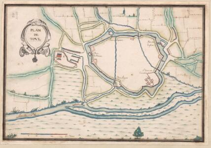A colored plan of the fortifications of Toul
