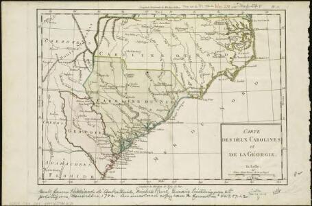 Carte des deux Carolines et de la Géorgie