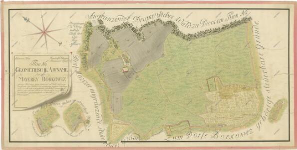 Geometrický plán dvora Borkovice s přilehlými pozemky 1