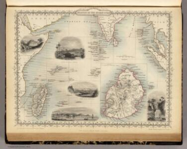 Islands In The Indian Ocean (with) inset map of Mauritius.