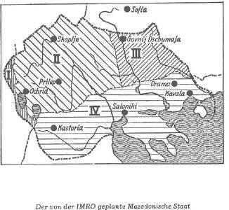 Der von der IMRO geplante Mazedonische Staat