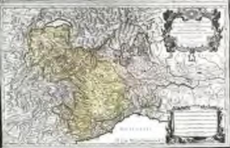 Les montagnes des Alpes ou sont remarqués les passages de France en Italie, le duché de Milan, et les estats du duc de Savoye &c