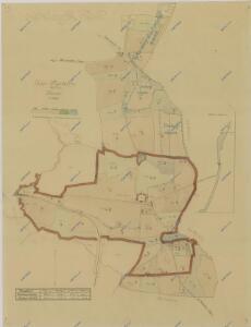 Mapa rozdělení pozemků dvora Mysletín po 1. pozemkové reformě, s vyznačením meliorací 1