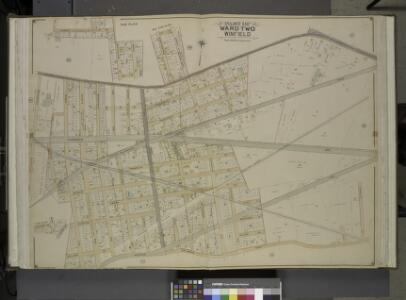 Queens, Vol. 2, Double Page Plate No. 14; Part of     Ward Two Winfield; [Map bounded by Worthington St., 1st St., Grove St., Woodside Ave., Broadway, Shell Road (Newtown and Bushwick Turn Pike), Thomson Ave.;       Including Maurice Ave., Manilla St.