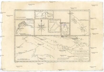 Carte des découvertes du capit. Carteret dans la N. Bretagne, avec une partie du passage du capit. Cook par le Détroit de l'Endéavour et les découvertes du capt. Dampierre dans ces parages