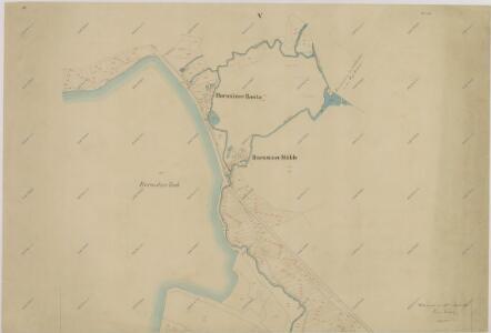 Mapa povodí Zlaté stoky překopírované z katastrálních map přilehlých obcí 1