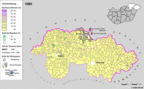Siedlungsgebiet der Slowaken nach dem Nachbarschaftsindex für Nordost-Ungarn 1880
