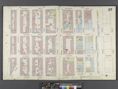 Manhattan, V. 1, Double Page Plate No. 27 [Map bounded by Montgomery St., East River, Rutgers Slip, Rutgers St., Division St.]