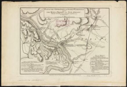Plan of the operations of General Washington, against the Kings troops in New Jersey : from the 26th. of December 1776, to the 3d. January 1777