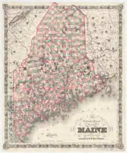 Township map of the state of Maine : with adjoining portions of Canada & New Brunswick