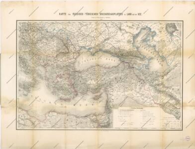 Uebersichts-Karte des Russisch - Türkischen Kriegsschauplatzes