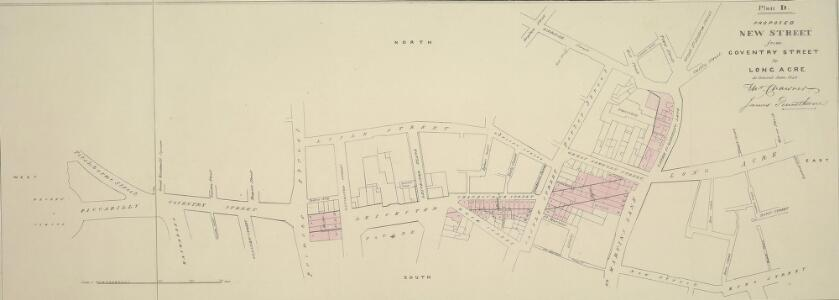 Plan D. PROPOSED NEW STREET from COVENTRY STREET to LONG ACRE. As Revised June 1840.