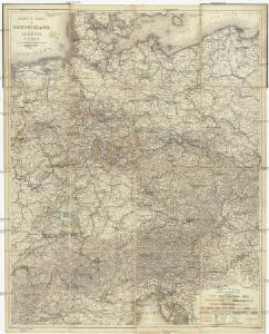 Neueste Karte von Deutschland, der Schweiz und Ober-Italien in 4 Blättern