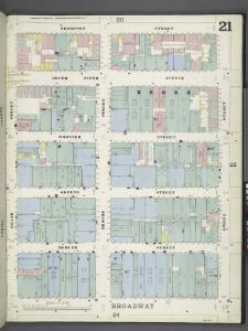 Manhattan, V. 1, Plate No. 21 [Map bounded by Thompson St., Spring St., Broadway, Grand St.]