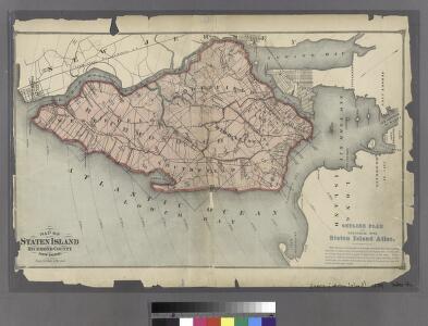 Map of Staten Island , Richmond County, Staten Island,New York.