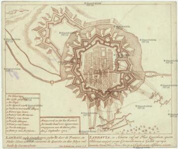 Landau, op de nieuweste wyse gesterkt door de Fransse, in Neder-Elsas, aan het rieviertie de Queiche in den Rhyn vallende by Germesheim