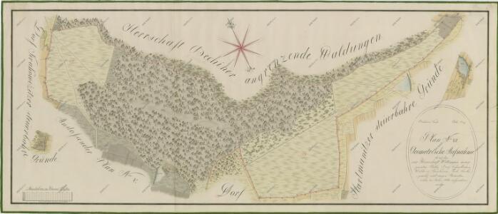 Geometrický plán lesa za Korákovem, rybníka Soukupovský a pastvin poblíž Hartmanic na statku Bzí 1