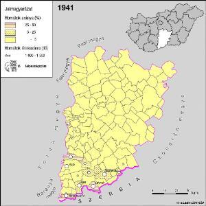 A horvátok aránya és száma Bács-Kiskun megyében 1941-ben
