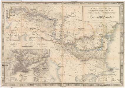 CARTE DU COURS DU DANUBE depuis Ulm jusqu'a son embouchure dans la Mer noire
