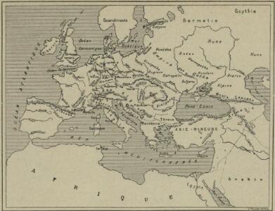 Carte des peuples de l'Europe centrale lors de l'apparation des Huns, au 4e siècle de notre ère