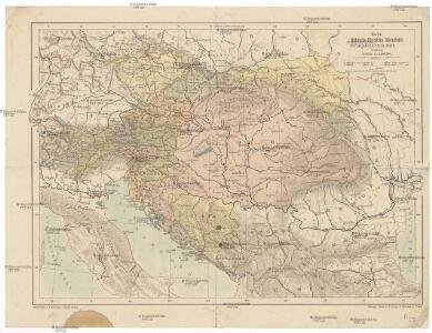 Mapa Rakousko-Uherského mocnářství a pohraničních států