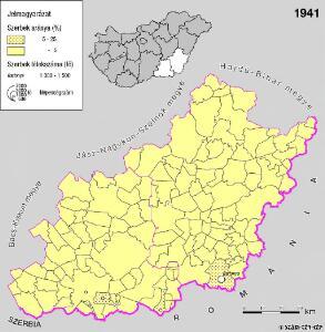 A szerbek aránya és száma a Dél-Alföldön 1941-ben