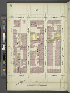 Manhattan, V. 5, Plate No. 51 [Map bounded by 11th Ave., West 49th St., 10th Ave., West 46th St.]