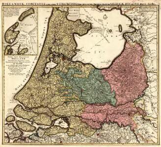 Kaart van't Graafschap Holland Naauwkeurig afgedeelt in zyne Heemraadschappen, Baljuwschappen en Waarden nevens verscheide andere minder afdeelingen en onderhorige landen als mede van de Heerlykheit Utrecht en het grootste gedeelte van Gelderlandt