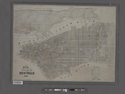 Map of the city of New York showing the original high water line and the location of the different farms and estates.