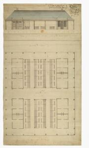 Plan of and] Elevation of East Front next the Center Avenue of the new Market Oxford