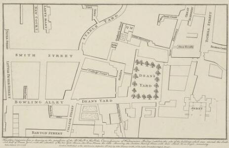 Dean Yard [A Plan of], taken in the year 1734 & 1748.