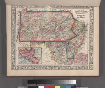 County map of Pennsylvania, New Jersey, Maryland and Delaware ; City of Philadelphia [inset]; City of Baltimore [inset].