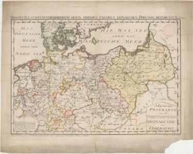 Allgemeine Postkarte von der Preussischen Monarchie zur Uebersicht. No. 36= Prospectus cursuum veredariorvm, qvi omnibus partibus monarchiæ Borussiæ reperiuntur