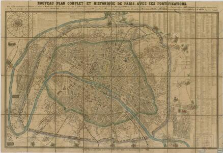 Noveau plan complet et historique de Paris, avec ses fortifications