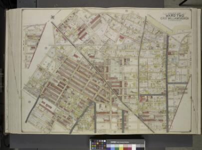 Queens, Vol. 2, Double Page Plate No. 35; Part of     Ward Two East Williamsburgh; [Map bounded by Cooper Ave., Moffatt St., Irving    Ave., Boundary line between borough of Queens and Brooklyn, Wyckof Ave., Madison St. (Ivy St.), Putnam Ave., Forest