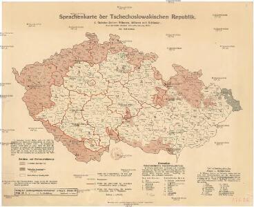 Sprachenkarte der Tschechoslovakien Republik.