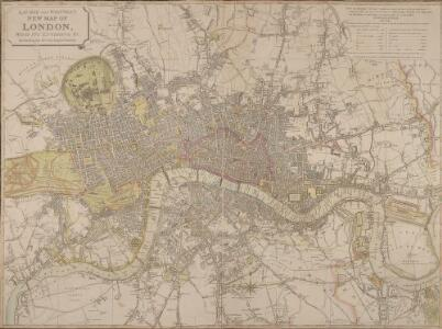 LAURIE and WHITTLE NEW MAP OF LONDON WITH ITS ENVIRONS &C. Including the Recent Improvements
