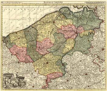 Flandriae Comitatus in ejusdem subjacentes Ditiones Accuratissimé divisus una cum Adjacentibus cum privil: ord: gen: belgii fœderati
