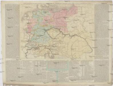 CARTE de L'ALLEMAGNE POLITIQUE ACTUELLE a partir du CONGRES de VIENNE ou CONFÉDÉRATION GERMANIQUE, renfermant occasionellement la CONFÉDÉRATION SUISSE