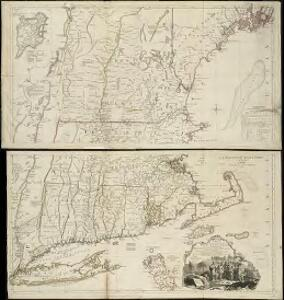 A map of the most inhabited part of New England containing the provinces of Massachusets Bay and New Hampshire with the colonies of Connecticut and Rhode Island divided into counties and townships the w[h]ole composed from actual surveys ...