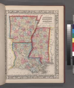 Map of Louisiana, Mississippi, and Arkansas.