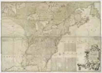 A map of the British and French dominions in North America, with the roads, distances, limits, and extent of the settlements, humbly inscribed to the Right Honourable the Earl of Halifax, and the other Right Honourable the Lords Commissioners for Trade & Plantations / by their Lordships most obliged and very humble servant, Jno. Mitchell; Tho. Kitchin, sculp.