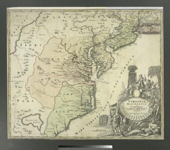 Virginia, Marylandia et Carolina in America septentrionali Britannorum industria excultae / repraesentatae à Ioh. Bapt. Homann, S.C.M. Geog.
