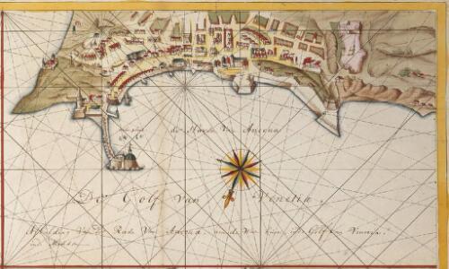 Afbeelding van de reede van Ancona, aen de West kust, in de Golf van Venetia