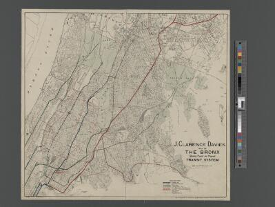 Map of the Bronx showing present and proposed transit system.