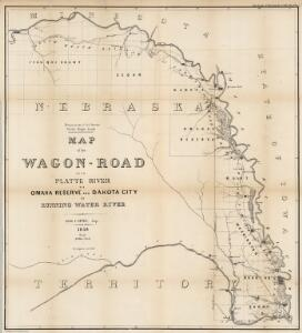 Map of the Wagon-Road from Platte River via Omaha Reserve and Dakota City to Running Water River.