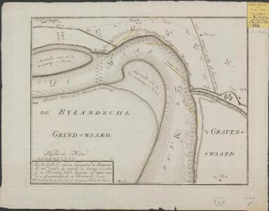 Kaart, van den bogtigenloop der Bovenwaal, zo als dezelve by inspectie en meetinge bevonden is in november 1766, beneffens de diepten aan de 's Gravenwaardsche en Herwensche oevers