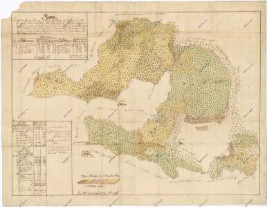 Přehledná mapa tzv. rezervovaných lesů ležících na panství Hluboká nad Vltavou. Připojena tabulka s popisy a výměrami 1